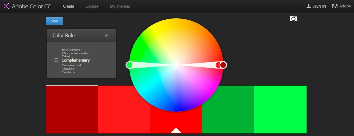 Adobe Color Wheel for complementary colors