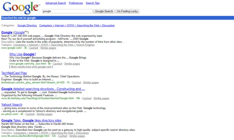 SERP example with rich snippets