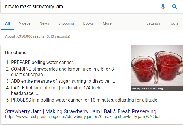 Featured snippets in SERP example