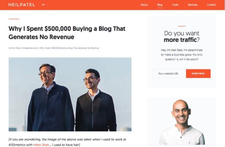 Neil Patel is among the best marketing blogs to follow.
