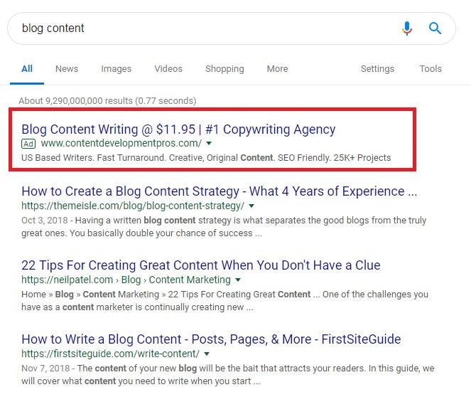 blog content ad