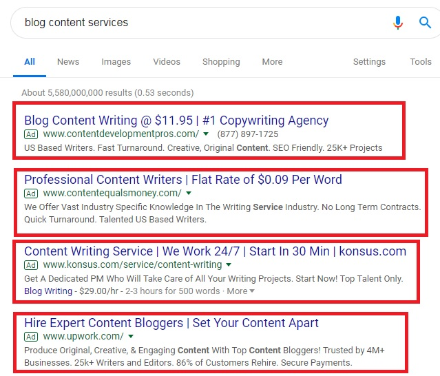 blog content services ad