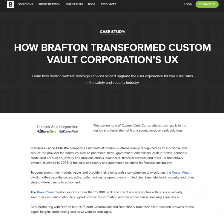 Example of a case study on Brafton's website