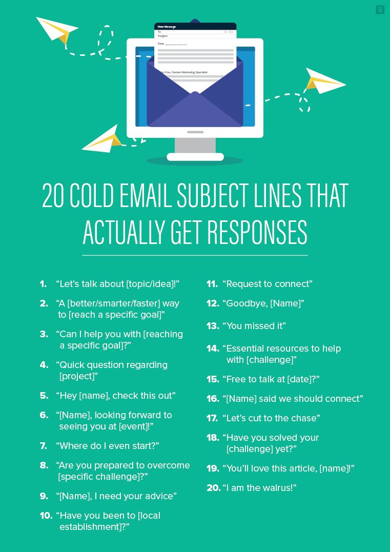 20 cold email subject lines that actually get responses - infographic
