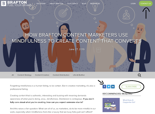 CTAs and social icons displayed on Brafton blog