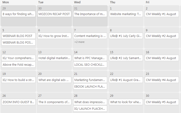Brafton blog content calendar on Airtable