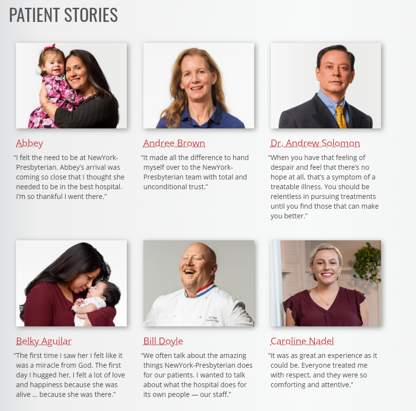 New York Presbyterian Hospital Patient Stories