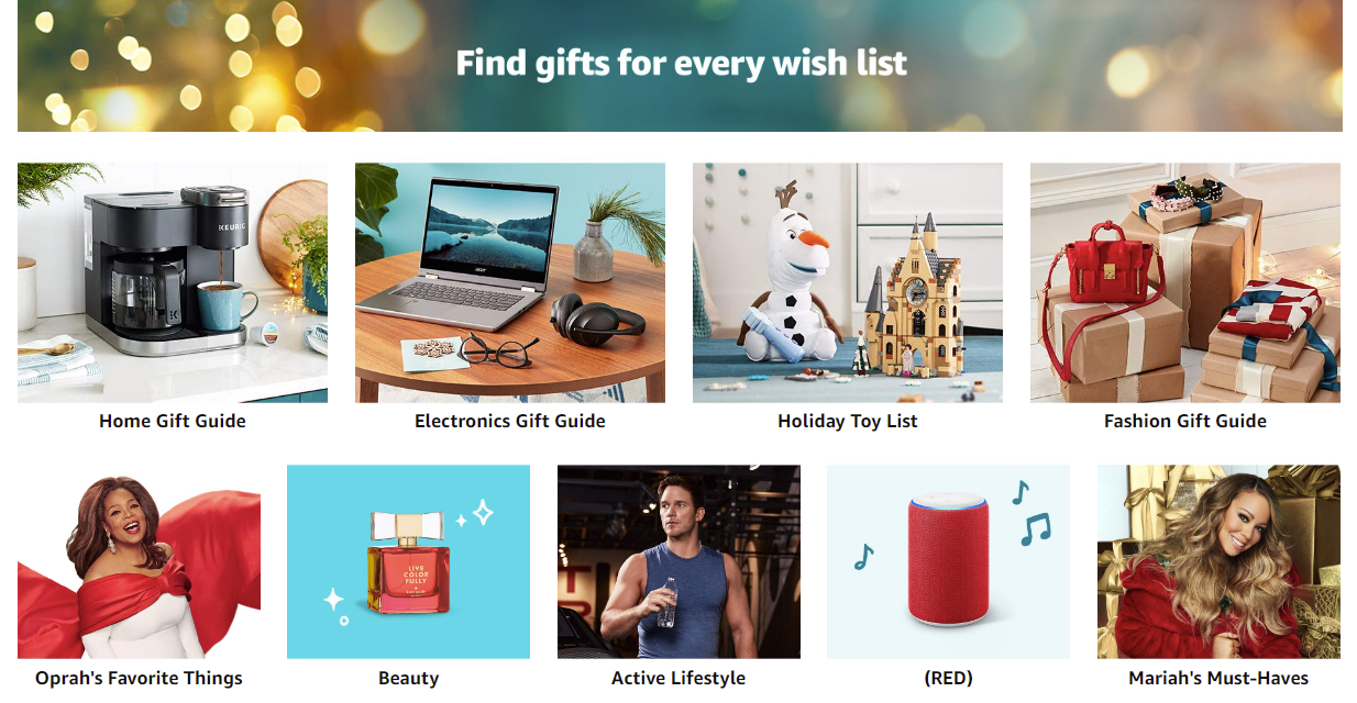 Amazon has numerous gift guides to help users find products during the holiday season.
