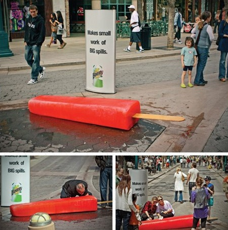 On the street marketing: Giant orange Popsicle.