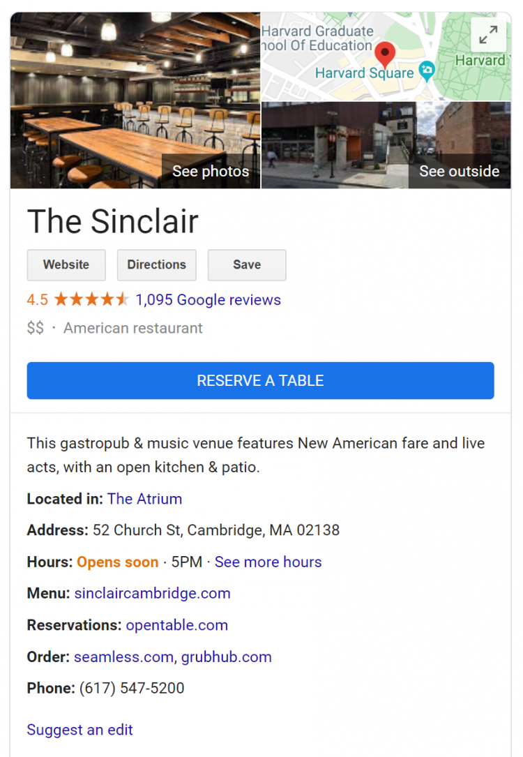The Sinclair Google My Business card