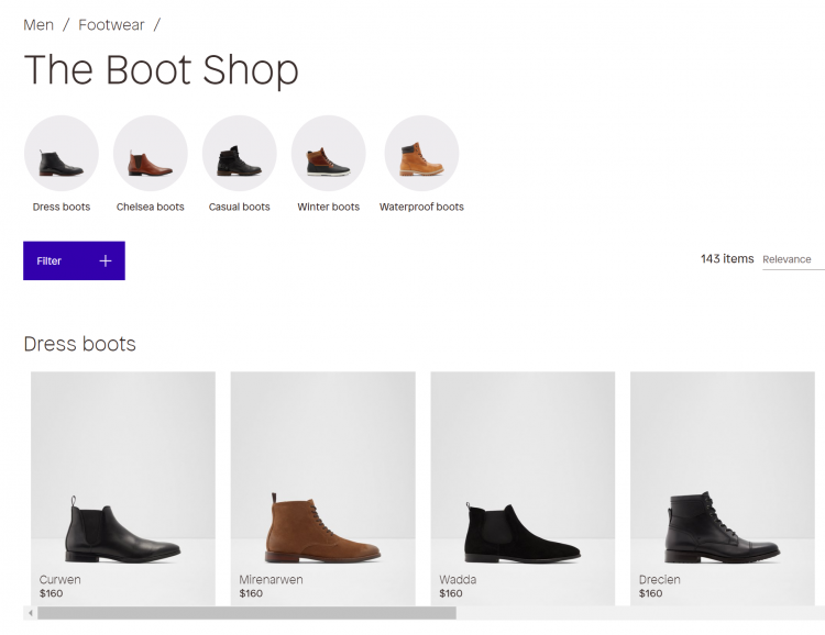 The Boot Shop on Aldo's website