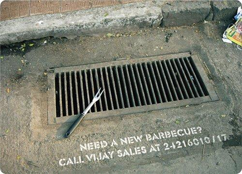 On the street marketing: Barbecue ad