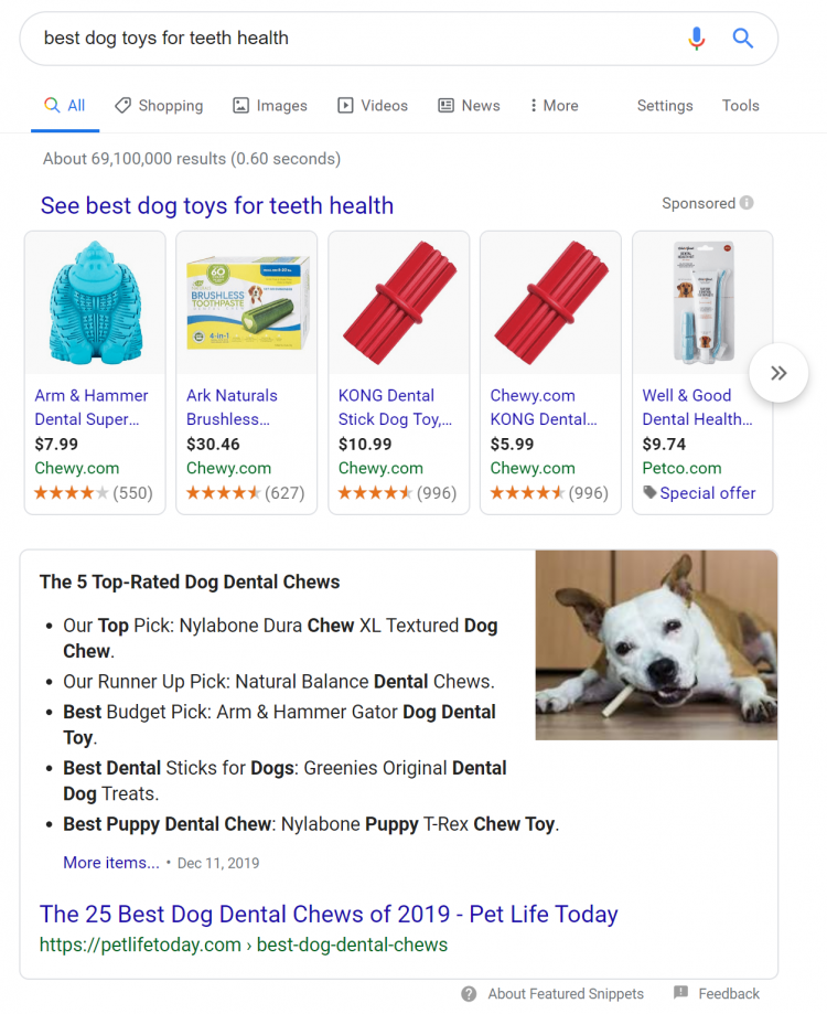 Google Ads example: best dog toys for teeth health