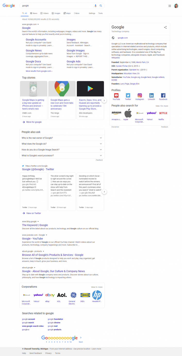 Google search with updated SERP features