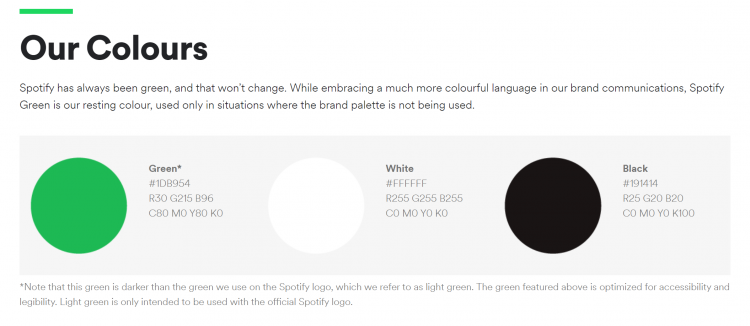Spotify color palette example