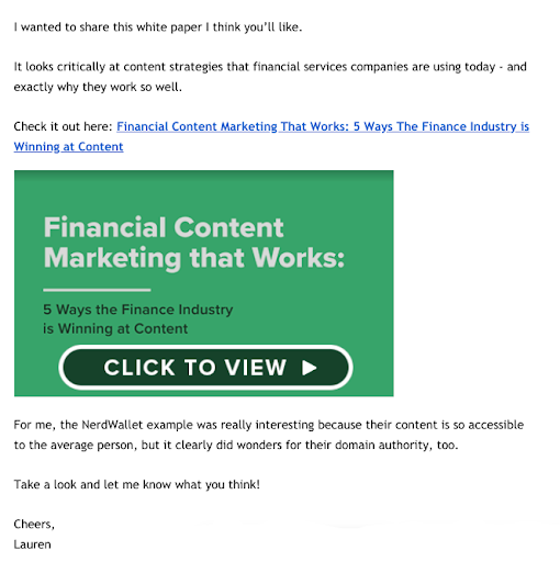 financial segment email example